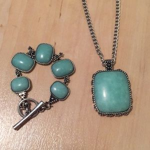 Lucky Brand Turquoise Necklace and Bracelet Set